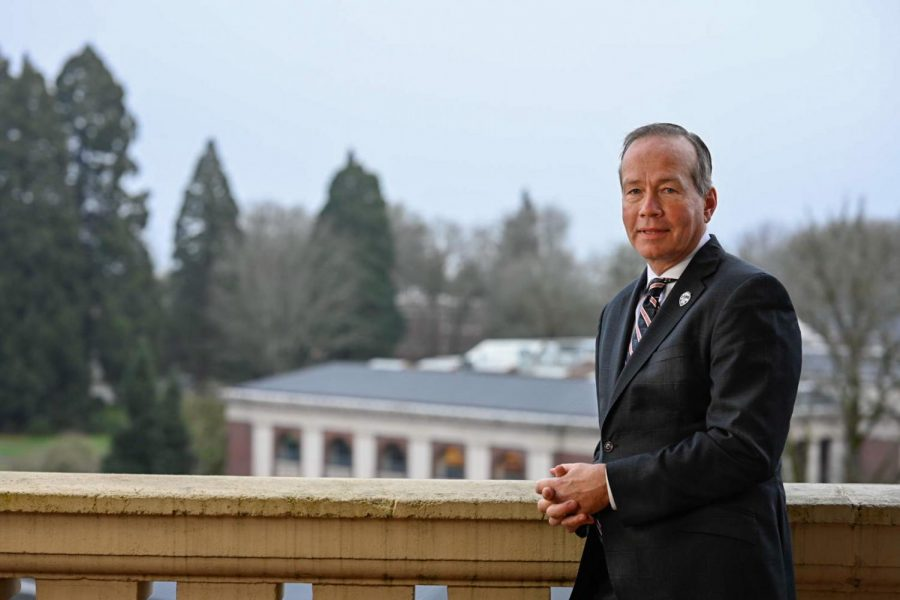 F. King Alexander, Oregon State Universitys president, stands on a balcony on the Corvallis, Ore. campus.