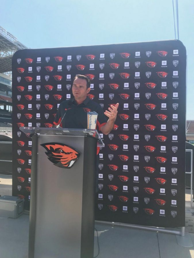 OSU+Football+head+coach+Jonathan+Smith+speaks+prior+to+2019+season+on+July+31+at+Reser+Stadium.+The+team+finished+the+season+with+a+record+of+5-7.%C2%A0
