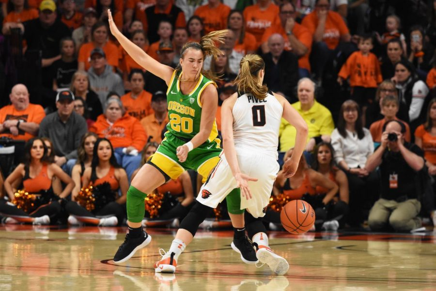 OSU+senior+guard+Mikayla+Pivec+%28%230%29+maneuvers+around+UO+senior+guard+Sabrina+Ionescu+%28%2320%29+at+Gill+Coliseum.+Dribbling+the+behind+her+back%2C+Pivec+advances+forward+to+shoot+two-pointer+late+in+the+third+quarter%2C+bringing+OSU+into+the+lead+39-38.%C2%A0