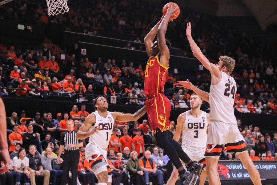 USC Freshman Onyeka Okongwu dunks the ball during matchup versus OSU in Gill Coliseum on Jan. 25, 2020.