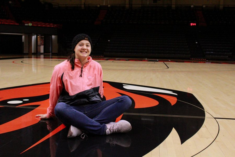 OSU+Womens+Basketball+senior+guard+Mikayla+Pivec+looks+on+in+Gill+Coliseum.%C2%A0