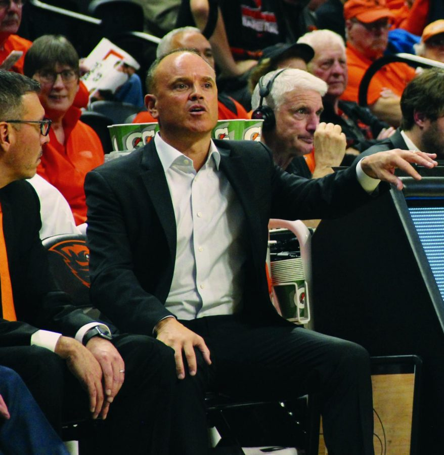 OSU+Women%E2%80%99s+Basketball+head+coach+Rueck+has+been+in+his+position+since+2010+and+has+coached+the+team+to+continued+success.+Rueck+coaches+the+team+from+the+sideline+versus+Utah+State.%C2%A0%C2%A0