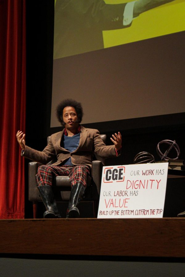 Writer%2C+director%2C+rapper+and+speaker+Boots+Riley+came+to+Corvallis+on+Friday+night+to+talk+about+his+film+%E2%80%9CSorry+to+Bother+You.%E2%80%9D+He+spoke+about+capitalism%2C+and+how+normal+citizens+can+use+their+voice.