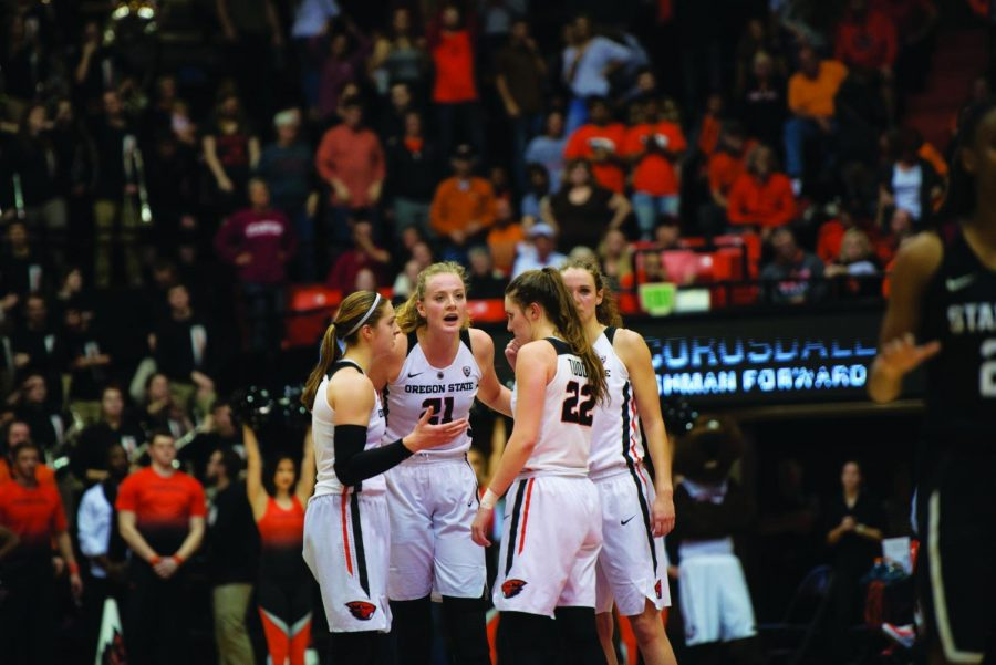 OSU+guard+Mikayla+Pivec+%28%230%29+and+guard+Kat+Tudor+%28%2322%29+work+with+teammates+in+a+home+game+in+Gill+Coliseum+during+the+2017-2018+season.+Pivec+and+Tudor%2C+now+seniors%2C+played+key+roles+versus+Arizona.