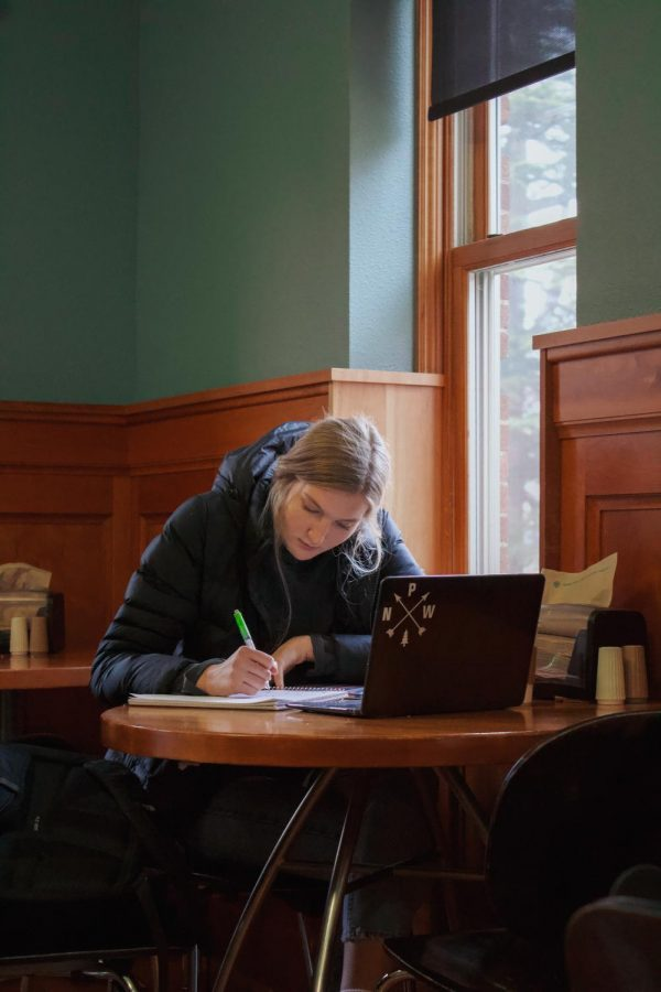 Freshman+Anna-Kate+Treske+studies+in+Bing%E2%80%99s+Cafe+inside+Weatherford+which+offers+a+variety+of+foods%2C+coffees+and+teas.