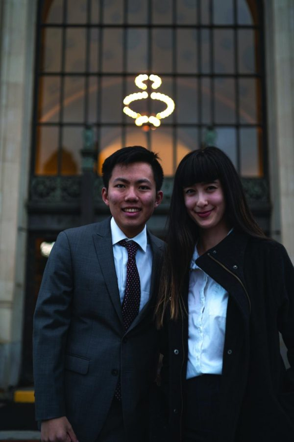 Associated Students of Oregon State University Presidential Candidate Jack Hill, left, and Vice Presidential Candidate Gretchen Fujimura pose in front of the Memorial Union.
