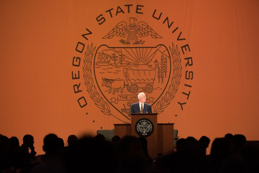 In+February%2C+OSU+President+Ed+Ray+gave+his+last+State+of+the+University+Address+at+the+Oregon+Convention+Center+in+Portland%2C+Ore.+Over+950+people+attended+the+event+to+listen+to+Ray+highlight+some+of+OSUs+achievements+over+the+past+year.%C2%A0