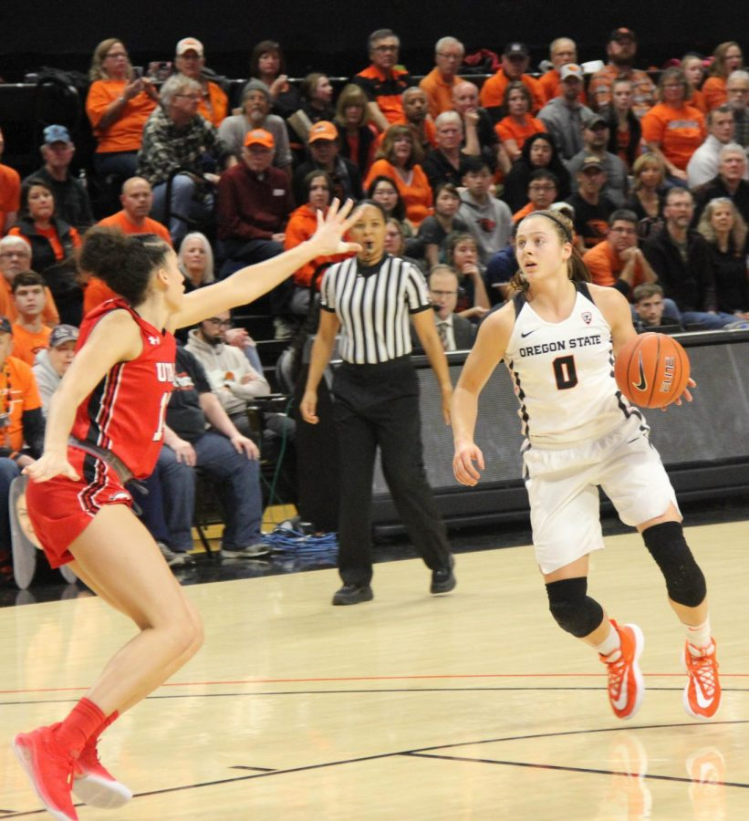 OSU+senior+guard+Mikayla+Pivec+looks+to+the+basket+to+run+an+offensive+play+against+Utah+on+Jan.+3+in+Gill+Coliseum.+Pivec+had+a+double+double+in+with+20+points+and+12+rebounds+at+Utah+on+Feb.+1+in+Salt+Lake+City%2C+Utah.