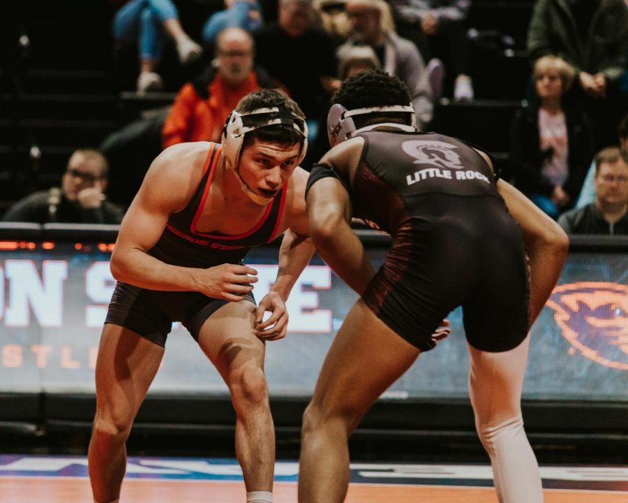 Brandon+Kaylor%2C+in+the+125+lb.+weight+class%2C+competes+against+UALR+on+Saturday+at+Gill+Coliseum+on+Feb.+15.