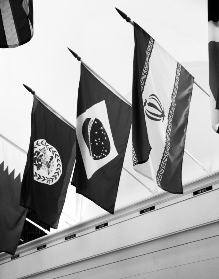 The Iranian flag (RIGHT) hangs in the Memorial Union on the OSU campus. Columnist Haley Daarstad believes the U.S. nearly avoided a war with the Islamic Republic.