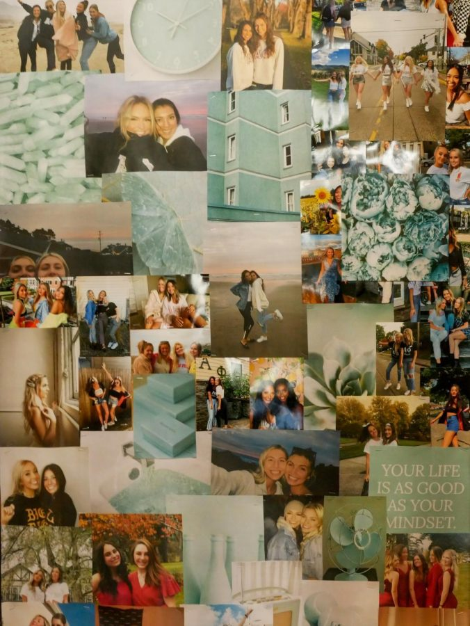 One+of+the+many+photo+collages+that+can+be+found+in+Alpha+Phi%2C+celebrating+the+sisterhood+and+giving+the+halls+and+stairways+pops+of+color.+%E2%80%9CYou+make+so+many+amazing+friends+that+you+would+never+have+expected%2C%E2%80%9D+said+Alpha+Phi+President+Molly+Stadeli.