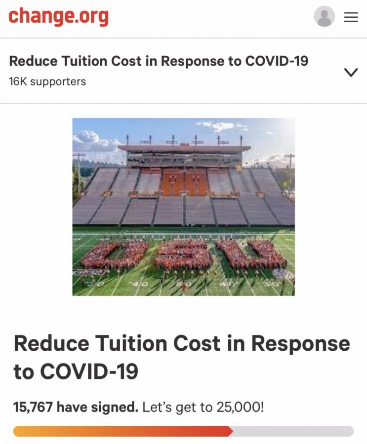 """A screenshot taken on March 31, 2020 shows a petition, titled """"Reduce Tuition Cost in Response to COVID-19,"""" which calls on the university to consider reducing the cost of attendance. The petitionhas been making rounds the past few weeks and has reached over 15,700 signatures from Oregon State University community members, according to its page on the Change.org website."""