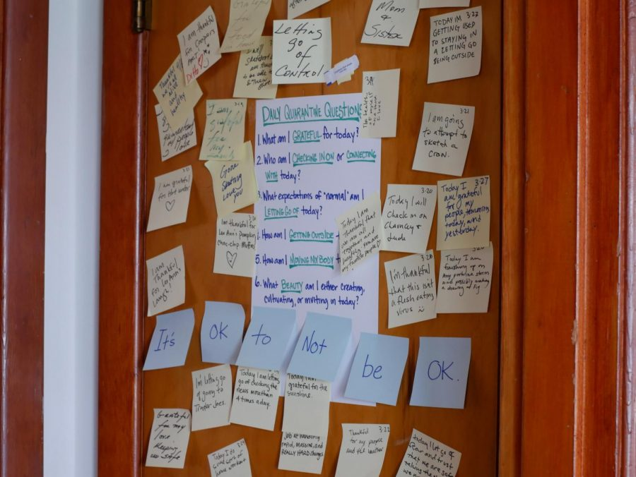 Post-it+Notes+cover+the+door+with+answers+to+the+%E2%80%9Cquarantine+questions%E2%80%9D+posted.+The+list+of+questions+is+to+serve+as+a+reminder+of+the+positive+aspects+of+life+during+quarantine.+Along+the+bottom+is+a+reminder+that+not+all+answers+need+to+be+positive+and+that+it+is+okay+to+not+be+okay.