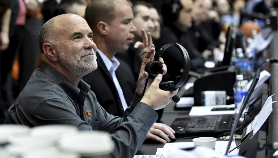 OSU+Sports+broadcaster+Mike+Parker+pauses+while+covering+a+Mens+Basketball+game+in+Gill+Coliseum+during+the+2017-18+season.%C2%A0