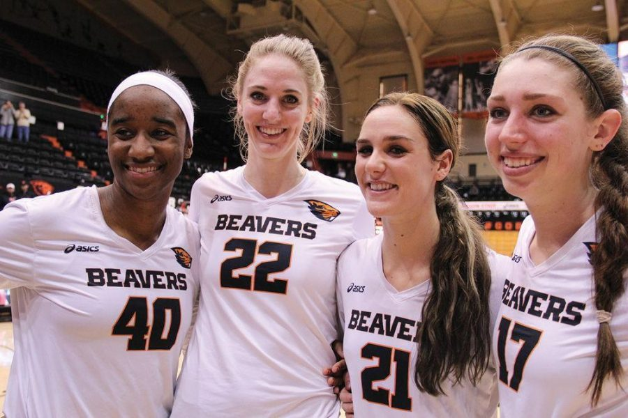 Four+Oregon+State+seniors+share+a+moment+in+their+last+regular+season+game+after+a+dominating+win+in+the+Civil+War+on+Nov.+28%2C+2014+in+Gill+Coliseum+before+advancing+to+the+NCAA+Tournament.%C2%A0From+left+to+right%3A%C2%A0Senior+middle+blocker+Arica+Nassar+%28%2340%29%2C+redshirt+senior+outside+hitter+Laura+Schaudt+%28%2322%29%2C+redshirt+senior+setter+Tayla+Woods+%28%2321%29%2C+senior+middle+blocker+Amanda+Brown+%28%2317%29