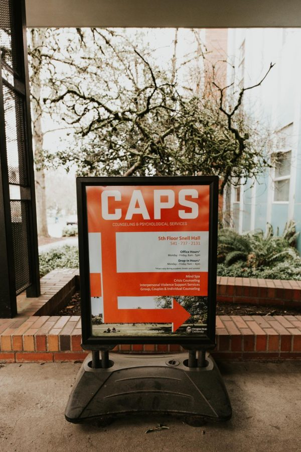 This photo was taken on March 14, 2020. Counseling and Psychological Services provides mental health counseling to students, and consultation, outreach and education to all OSU community members. CAPS is located on the fifth floor of Snell Hall, though all CAPS services are currently being offered remotely due to the COVID-19 pandemic.
