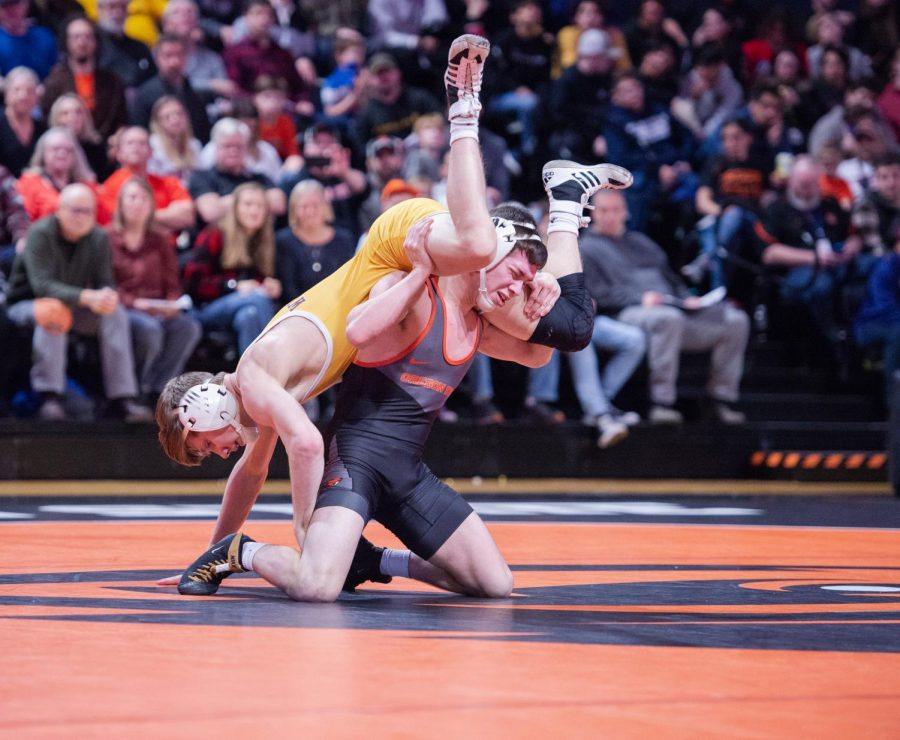 Kaylor 2: OSU redshirt freshman Brandon Kaylor fights to gain ground against Wyoming freshman Jake Svihel. Kaylor defeated Svihel and secured one of the Beaver's victories against the Wyoming Cowboys at Gill Coliseum on Jan. 31