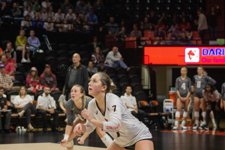 OSU+junior+libero+Grace+Massey+square+up+to+defend+for+the+Beavers+versus+No.+3+Stanford+on+oct.+5+in+Gill+Coliseum.+The+Beavers+lost+0-3.%C2%A0