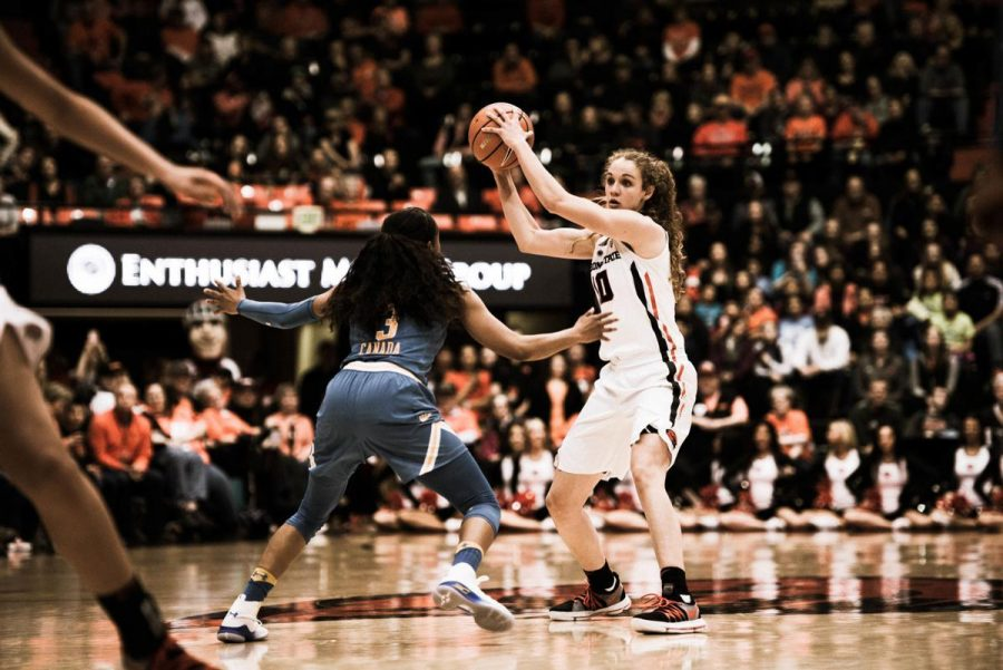 Former+OSU+junior+guard+Katie+McWilliams+tries+to+keep+the+ball+away+from+a+UCLA+defender+in+their+home+matchup+in+2018+at+Gill+Coliseum.+The+OSU+Womens+Basketball+team+finished+the+season+by+making+it+to+the+Elite+Eight+in+the+NCAA+tournament.%C2%A0