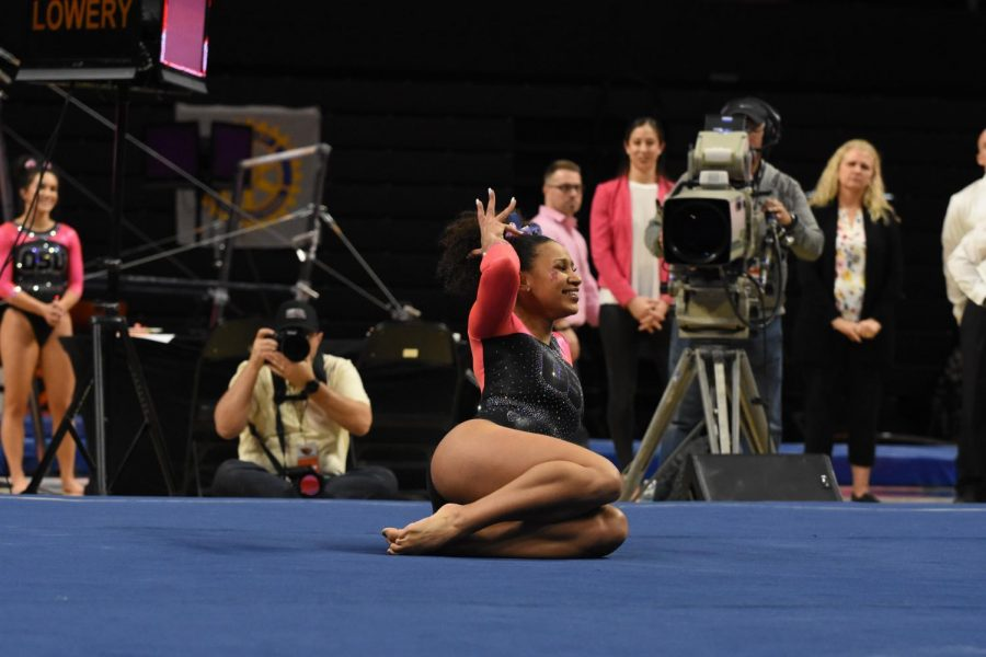 OSU senior gymnast Isis Lowery competes in her floor routine against Stanford in Gill Coliseum on Feb. 2, 2020. Lowery poses in her iconic crown moment, a representation of self confidence for both her and her fans.