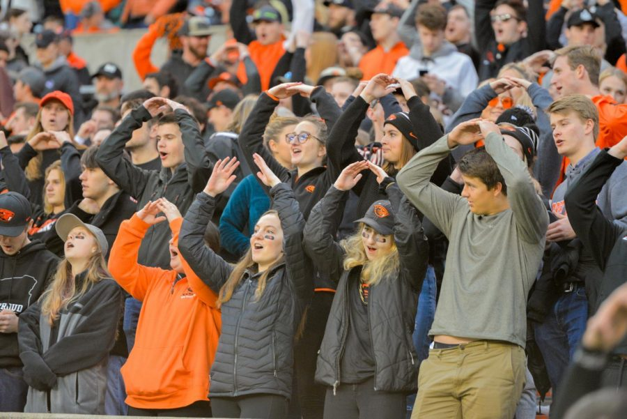 Students participate in the O-S-U chant in the student section in Reser Stadium for OSU Footballs senior night versus Arizona State on Nov. 16, 2019.