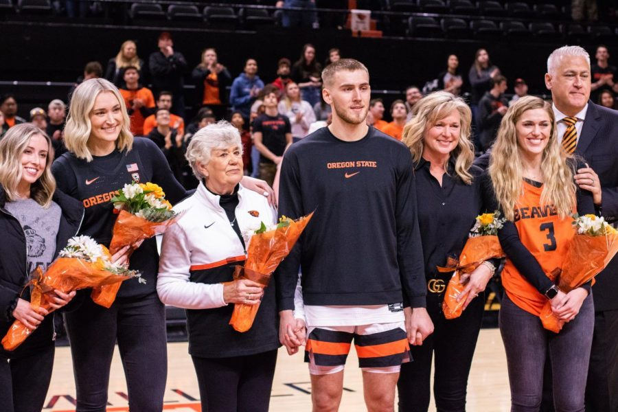 OSU+senior+forward+Tres+Tinkle+smiles+along+with+his+family+for+senior+night+celebrations+on+March+7.