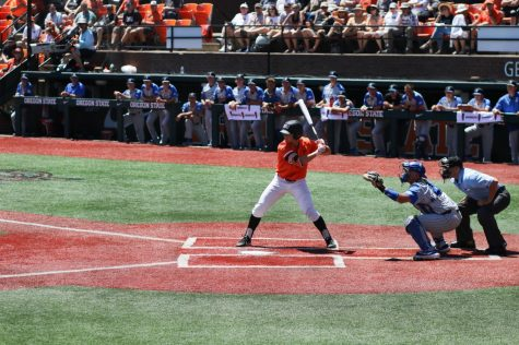 OSU Baseball junior infielder/outfielder Tyler Malone takes the plate in the NCAA Regionals in June 2019 at Goss Stadium.