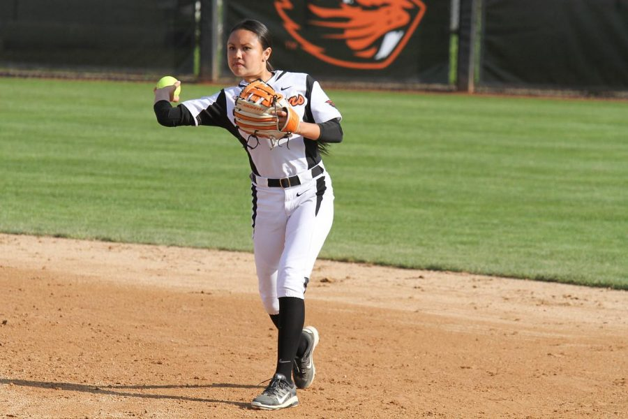 Junior infielder Mikela Manewa pulls back to let one fly toward home against Arizona at home April 4, 2015.