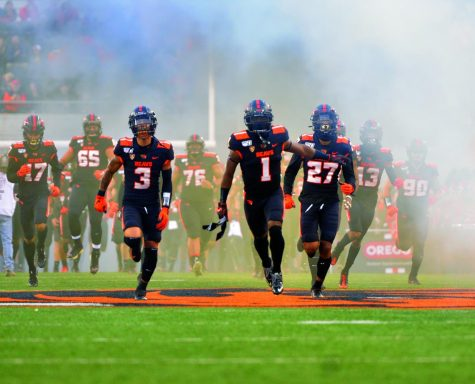 The Beavers take the field following the honoring of seniors for their matchup versus ASU on Nov. 16 in Reser Stadium.
