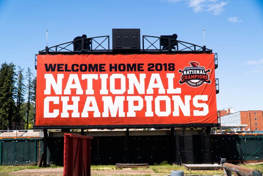 A+banner+welcoming+back+the+OSU+Baseball+team+after+their+College+World+Series+win+at+Goss+Stadium+in+June+2018.%C2%A0