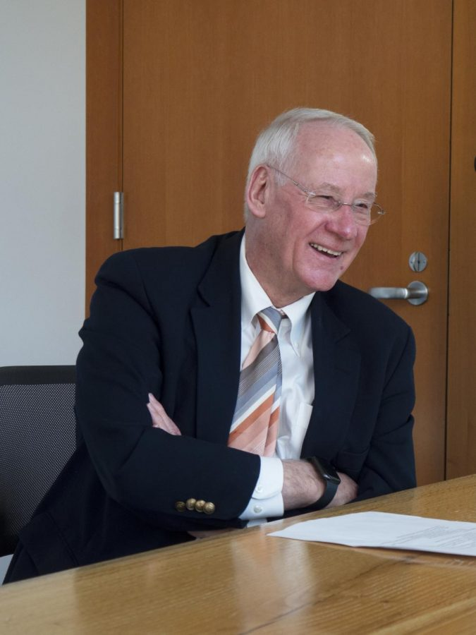 Oregon State University president Ed Ray smiles in remembrance during an interview at theStudent Experience Center on Monday, Feb. 10, 2020, as he talks about some of hisfavorite experiences over the course of his 17-year presidency. Ray stepped down fromhis role as OSUs president on Jun. 30.