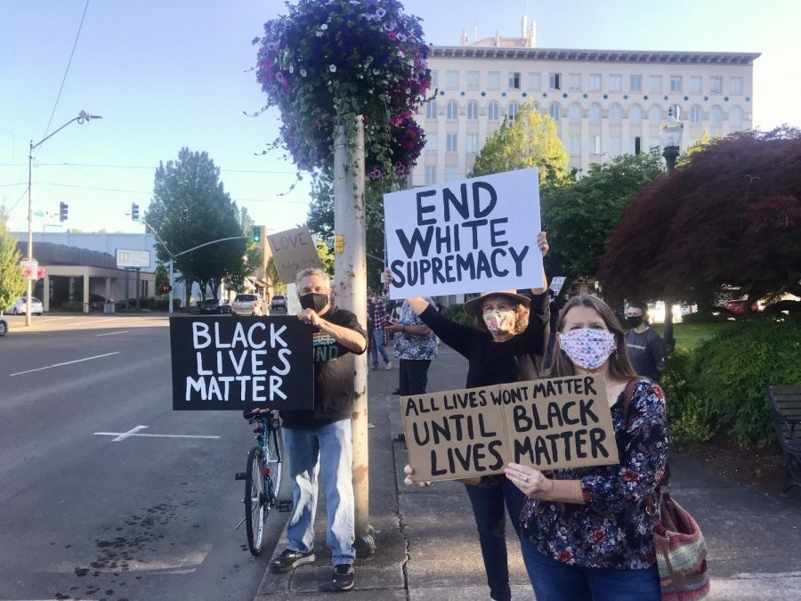 A peaceful protest in support of the Black Lives Matter movement took place on Friday, July 10, at 7 p.m. at the Benton County Courthouse in downtown Corvallis, Ore. Protestors held signs and chanted while wearing masks and practicing social distancing.