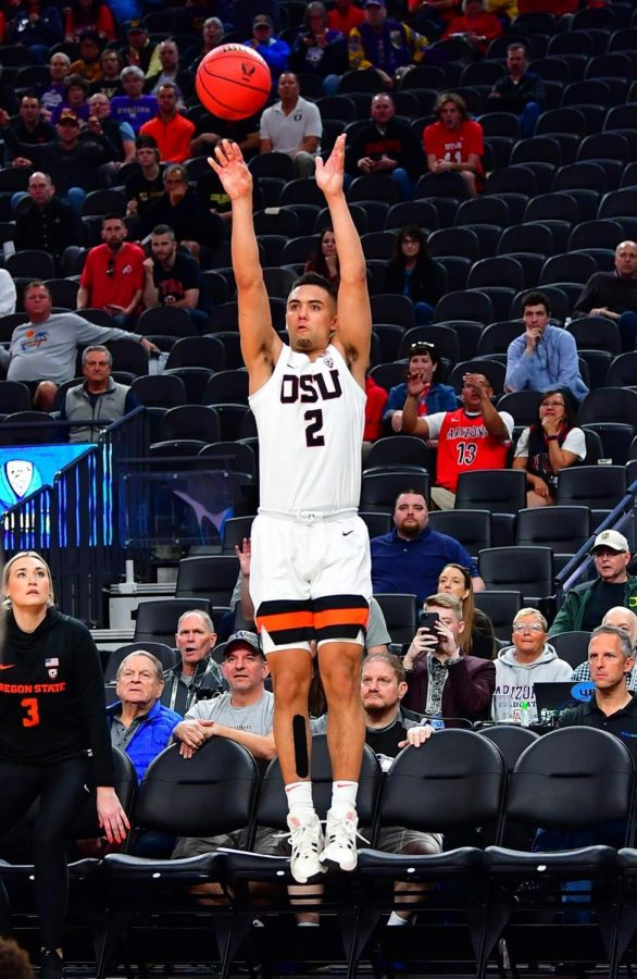 OSU+Mens+Basketball+true+freshman+Jarod+Lucas+goes+up+for+the+three-point+shot+that+clenched+the+Beavers+victory+over+the+Utah+Utes+in+the+first+round+of+the+PAC-12+tournament+on+March+11%2C+2020.%C2%A0