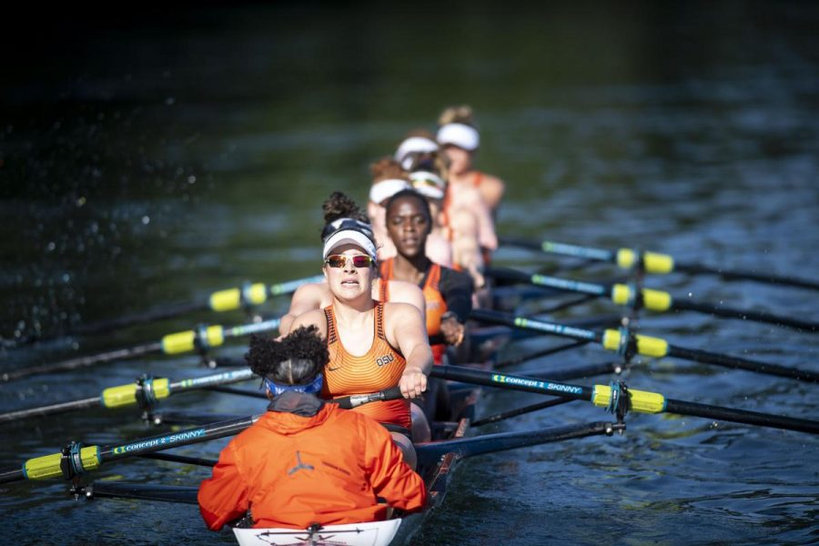 OSU Womens Rowing crew competes on the water in their 2018 season.