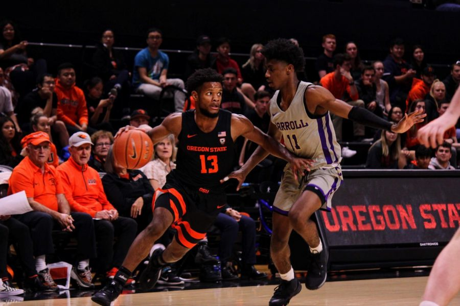 OSU Mens Basketball sophomore guard Antoine Vernon drives against Carroll College in Gill Coliseum early on in the 2019-20 season.