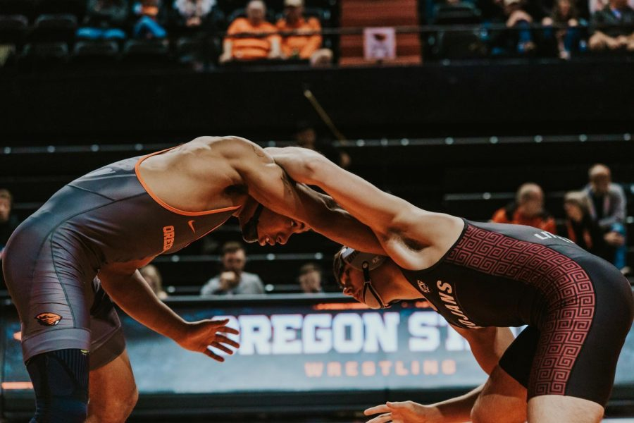 OSU Wrestler Mateo Olmos, in the 165 pound weight class, squared up versus Little Rock on Feb. 15, 2020 at Gill Coliseum.