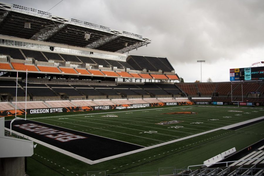 Reser+Stadium+is+home+to+the+Oregon+State+University+football+team.+Reser+Stadium+has+the+capacity+to+seat+45%2C674+fans.