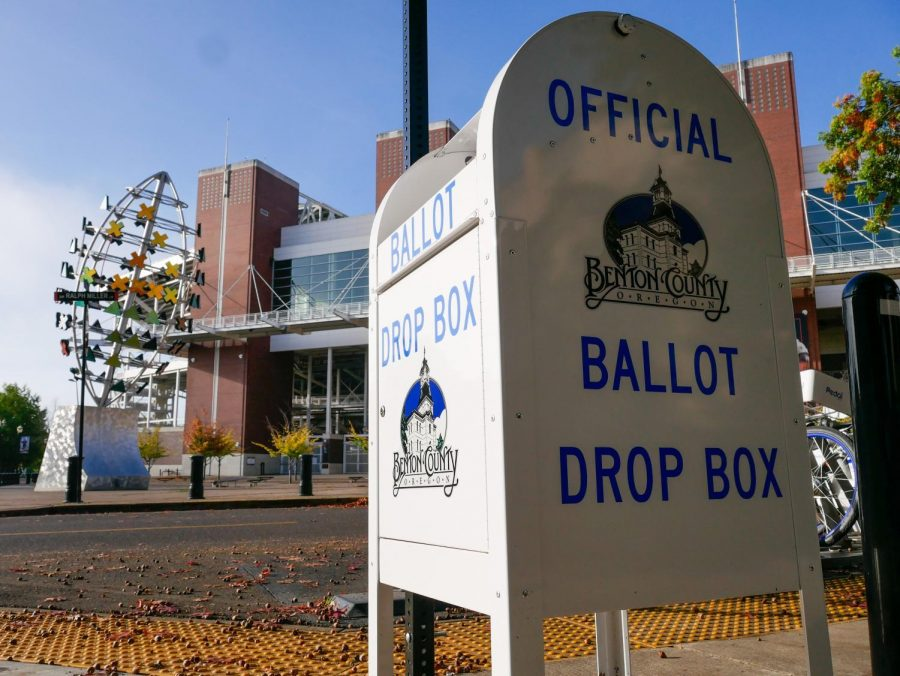 An+Official+Benton+County+Ballot+Drop+Box+on+the+corner+of+Ralph+Miller+and+26th+in+between+Gill+Coliseum+and+Reser+Stadium.+Ballots+need+to+be+filled+out+and+turned+into+one+of+these+drop+boxes+before+8+p.m.+on+Nov.+3.+More+Ballot+Drop+Box+locations+can+be+found+on+Benton+County%E2%80%99s+website.
