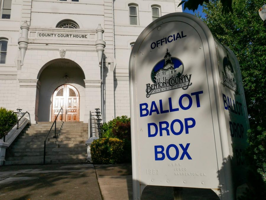 An Official Benton County Ballot Drop Box in front of the Benton County Courthouse on NW Fourth St. Ballots need to be filled out and turned into one of these drop boxes before 8 pm on Nov. 3. More Ballot Drop Box locations can be found on Benton County's website.