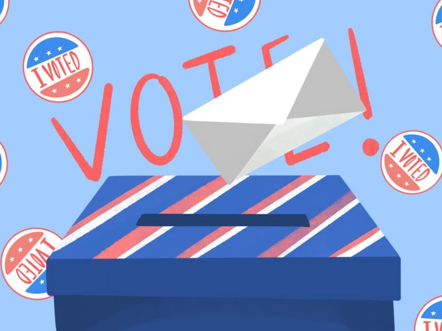 This illustration represents sending in voting ballots and voting in general. This was done for an article on voting myths for the 2020 election.