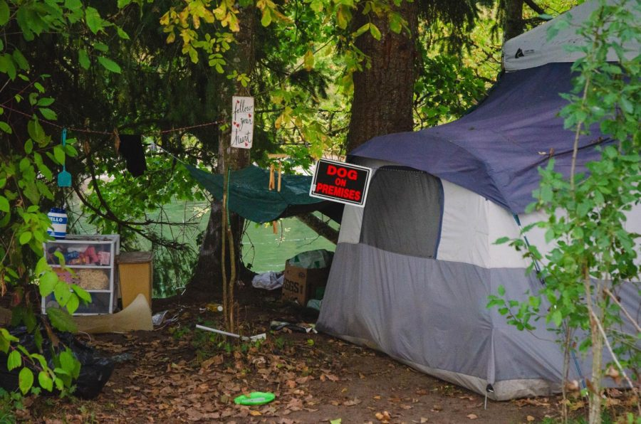A homeless camp set up along the Willamette River with a sign stating dog on premises.