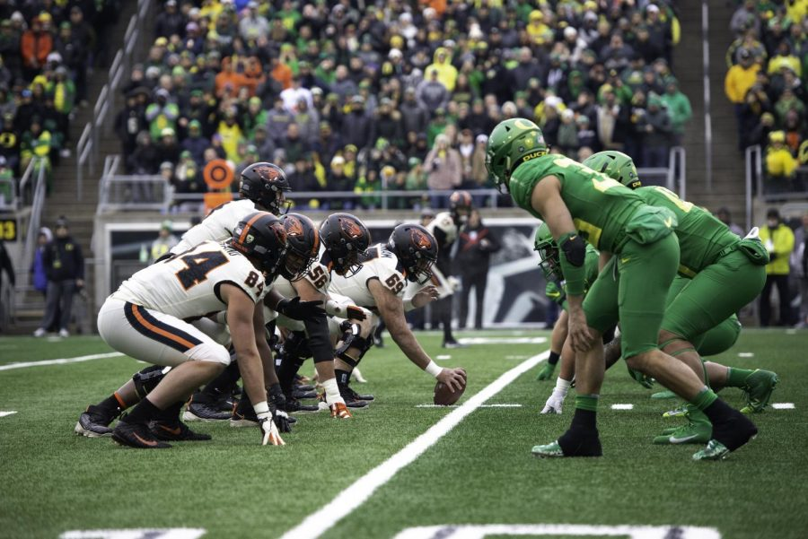 In this file photo from 2019, The Oregon State offense lines up against the Oregon defense in their annual rivalry game.Oregon State lost the battle last season, but got revenge in their 2020 meeting by a 41-38 final score. Photo from Orange Media Network archives.