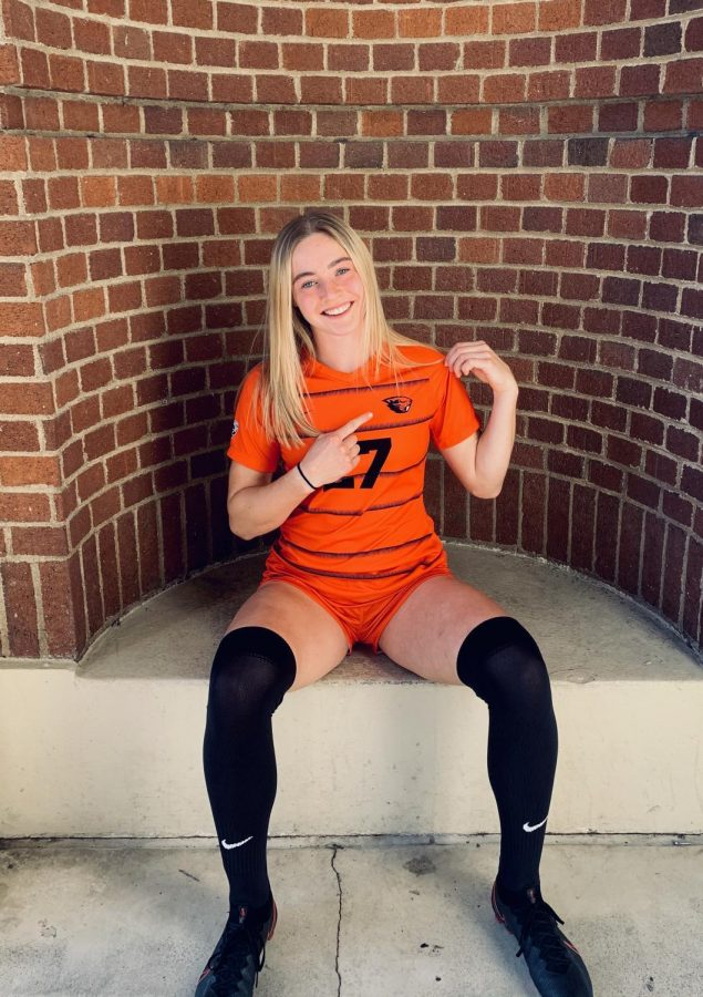 In this contributed photo, freshman forward for Oregon State Womens Soccer, Amber Jackson, is pictured in her team uniform.