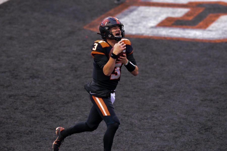 Oregon State's Quarterback Tristan Gebbia celebrating his first receiving touchdown this season. Gebbia helped lead the Beavers their first win of the season with 147 yards, one passing touchdown and one receiving touchdown.