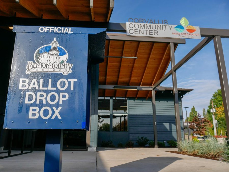 This file photo from Oct. 14, 2020 pictures an Official Benton County Ballot Drop Box in front of the Corvallis Community Center on 26th and NW Tyler Ave. Ballots need to be filled out and turned into one of these drop boxes before 8 p.m. on Nov. 3. More Ballot Drop Box locations can be found on Benton County's website. For the 2020 election cycle, Oregon State University has reported that over 99% of the schools student athletes have registered to vote.