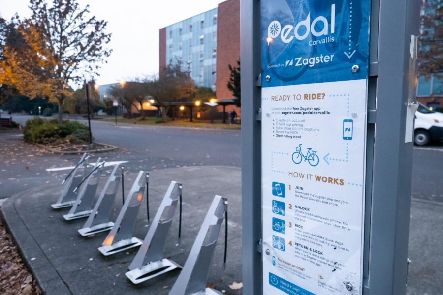 Pedal+Corvallis+station+behind+Kerr+Administration+Building+on+the+corner+of+SW+Benton+Place+and+SW+Jefferson+Way.+The+active+survey+is+asking+local+Corvallis+residents+and+OSU+students+about+where+they+would+like+more+stations+to+be+added.%C2%A0