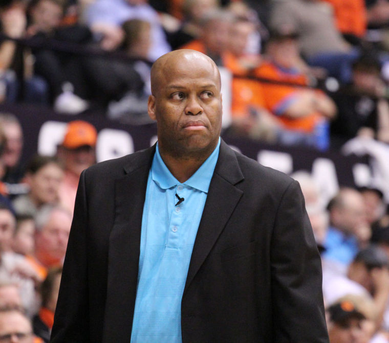 In this file photo from 2014, Oregon State head coach Craig Robinson patrols the sideline in a February game against Washington State at Gill Coliseum. Robinson is nowthe Executive Director of the National Association of Basketball Coaches.