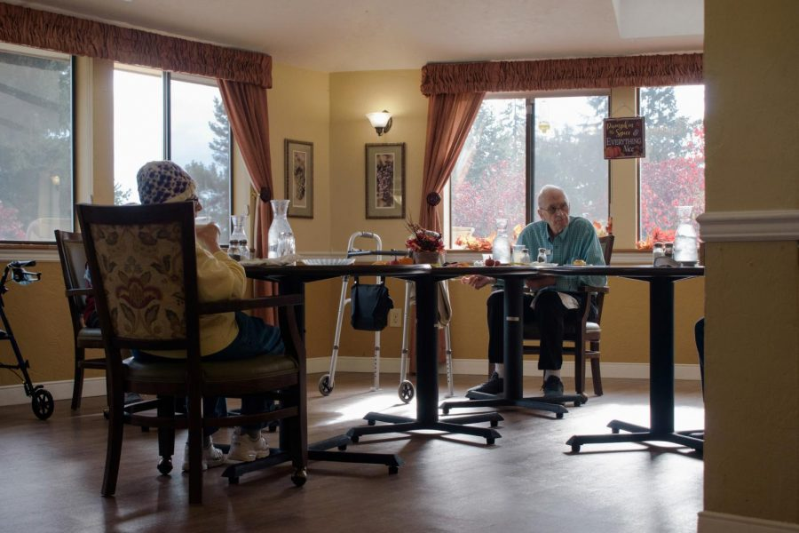 Residents of The Regent, A local retirement home, gather for a social-distanced lunch during 12:00pm on Tuesday, November 3rd. The Regent has been taking precautions against COVID-19 by ensuring all residents practice social distancing and wear masks when not eating.