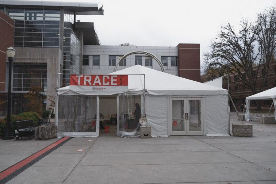 Team-based Rapid Assessment of Community-level coronavirus Epidemics provides timely information that enables public health officials, individuals and the university to curb the spread of the coronavirus. The tent is located between the Kelley Engineering Center and Student Health Services. More information can be found on the TRACE website.