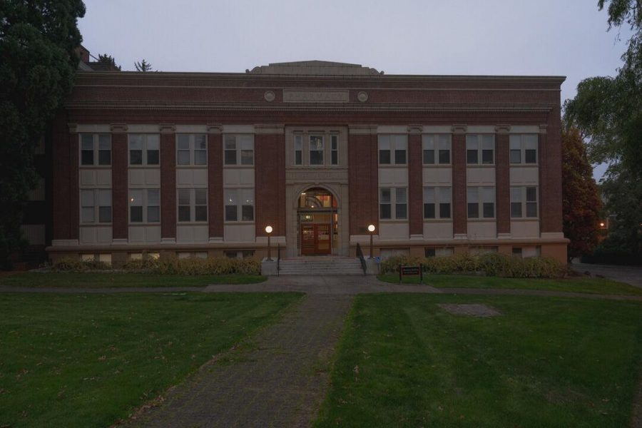 The Pharmacy building is located on campus at 1601 SW Jefferson Way, next to the Valley Library.